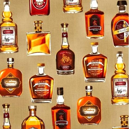 Picture of Cheers Whiskey Bottles Rye Scotch Irish Single Malt Cotton Fabric