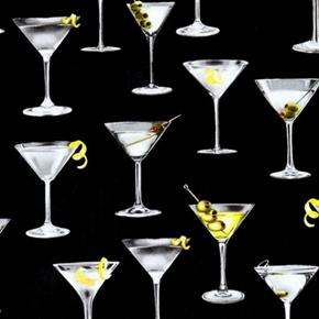Cheers Martini Cocktail Up With a Twist and Olives Black Cotton Fabric