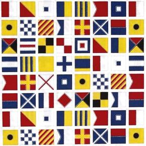 Down By The Sea Nautical Flags Signal Flag White Cotton Fabric