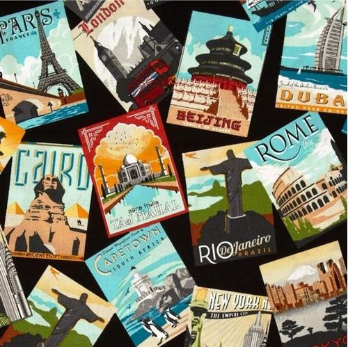 Dream Vacation Travel Posters Rio NYC Madrid Paris Cairo Cotton Fabric