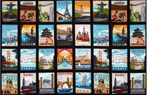 Dream Vacation Vintage Travel Poster Block 24x44 Cotton Fabric Panel