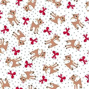 Fun With Rudolph Reindeer and Bow Toss White Cotton Fabric
