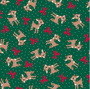 Fun With Rudolph Reindeer and Bow Toss Forest Green Cotton Fabric