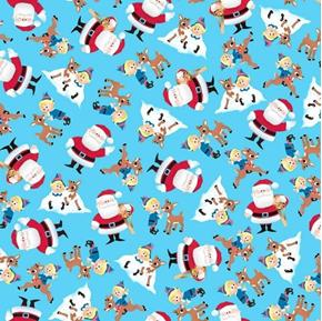Fun With Rudolph Character Toss Reindeer and Santa Blue Cotton Fabric