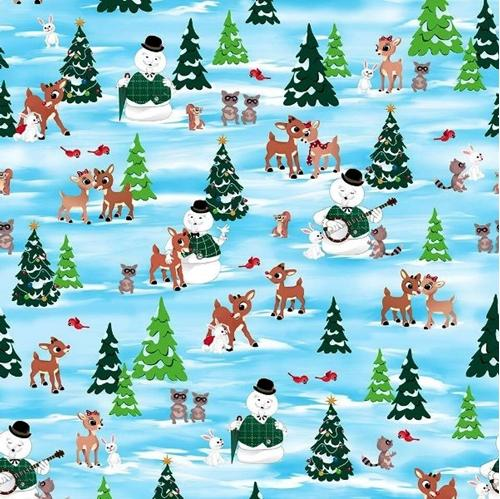 Fun With Rudolph Rudolph and Friends Scenic Blue Cotton Fabric