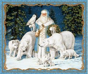 Picture of All Is Calm Arctic Santa Polar Animals Blue Large Cotton Fabric Panel