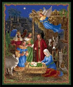 Picture of In Bethlehem Christmas Nativity Metallic Gold Cotton Fabric Panel