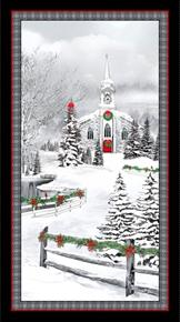 Home For The Holidays Snowy Church Christmas 24x44 Cotton Fabric Panel