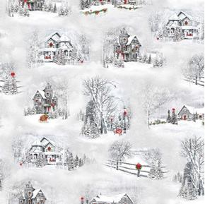 Home For The Holidays Christmas Winter Scenic Vignettes Cotton Fabric