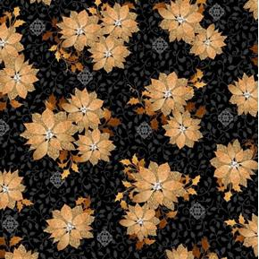 A Golden Holiday Poinsettias Flowers Gold on Black Cotton Fabric