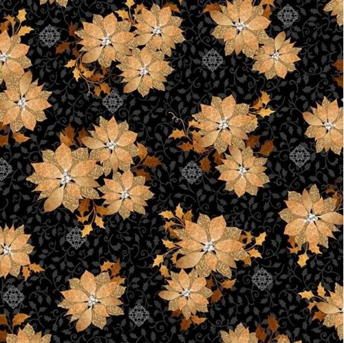 Cotton Fabric - Holiday Fabric - A Golden Holiday Poinsettias ...