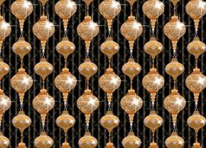Picture of A Golden Holiday Sparkling Ornaments Gold on Black Cotton Fabric