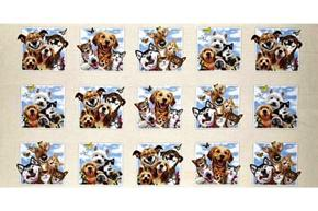 Pet Selfies Cats Dogs Husky Pug Yorkie 24x44 Cotton Fabric Panel