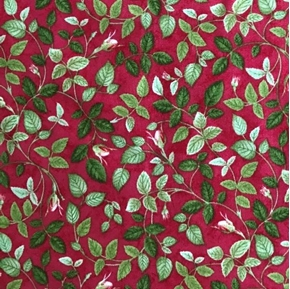 Rosehill Vine Rose Buds Leaves Roses Flowers Dark Pink Cotton Fabric