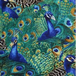Peacocks Peacock Birds and Feathers Teal Blue Cotton Fabric