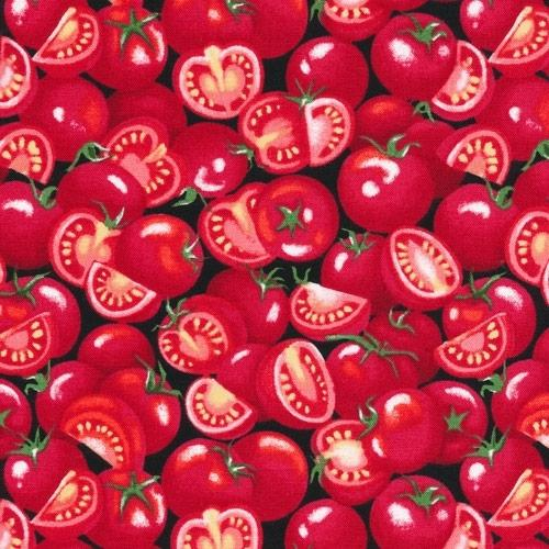 Farmer Johns Garden Party Tomatoes Tomato Halves Red Cotton Fabric