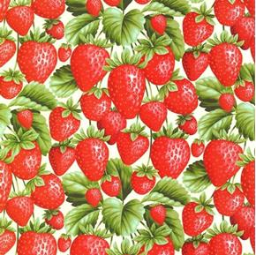 Fresh Harvest Strawberries Strawberry Berry Plants Cotton Fabric