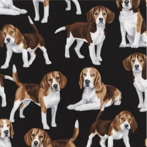 Beagle Dogs Puppy Dog Beagles on Black Cotton Fabric