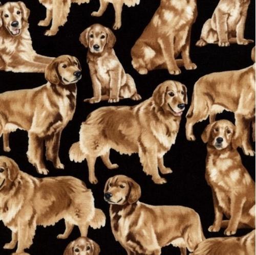 Golden Retriever Dogs Puppy Dog Retrievers Black Cotton Fabric