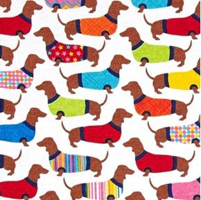 Picture of Dachshund Dogs in Sweaters Dachshunds Puppy Dog White Cotton Fabric