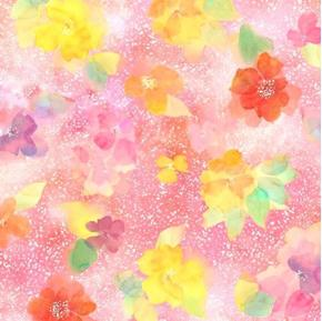 Picture of Sun-Kissed Clustered Blooms Pastel Flowers White Specks Cotton Fabric