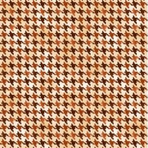 Nature's Glory Hounds Tooth Herringbone Pattern Brown Cotton Fabric