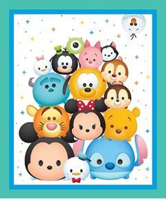 Picture of Disney Tsum Tsum Character Emoji Large Cotton Fabric Panel
