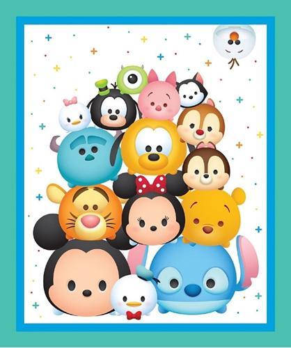 Disney Tsum Tsum Character Emoji Large Cotton Fabric Panel
