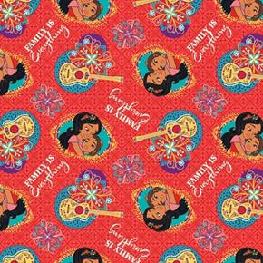 Disney Elena of Avalor Family is Everything Mother Red Cotton Fabric