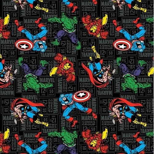 Marvel Comics Character Toss X-Men Ironman Thor Black Cotton Fabric
