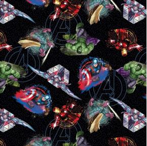 Marvel Comics Badges Avenger Hulk Sam Capt America Black Cotton Fabric