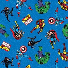 Marvel Comic Action Avengers Black Widow Hulk Blue Cotton Fabric