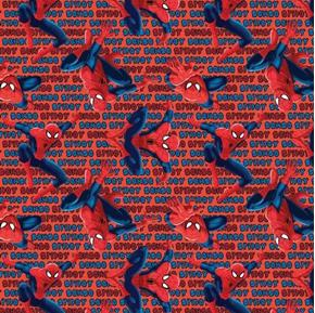 Marvel Comics Spidey Sense Spiderman and Words Red Cotton Fabric