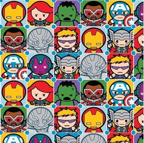 Marvel Comics Character Tiles Avenger Kawai Superheroes Cotton Fabric