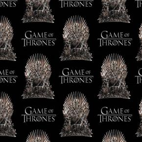Game of Thrones The Iron Throne HBO Series Black Cotton Fabric