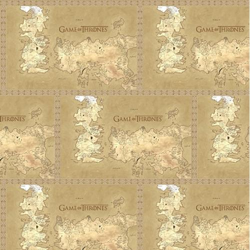 Game of Thrones Map of Westros HBO Series Beige Cotton Fabric