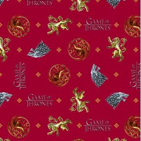 Game of Thrones You Win or You Die House Insignias Red Cotton Fabric