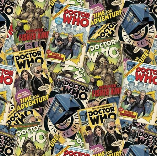 Doctor Who Comic Book Toss Cotton Fabric