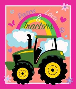 John Deere Peace Love and Tractors Large Cotton Fabric Panel