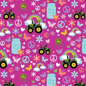 John Deere Farm Fresh Tractors Peace Signs Milk Can Pink Cotton Fabric