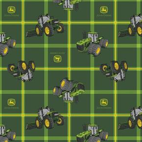 John Deere Square Plaid Tractors Combine Farming Green Cotton Fabric