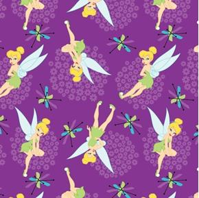 Disney Tinkerbell Toss Tink With Flowers Purple Cotton Fabric