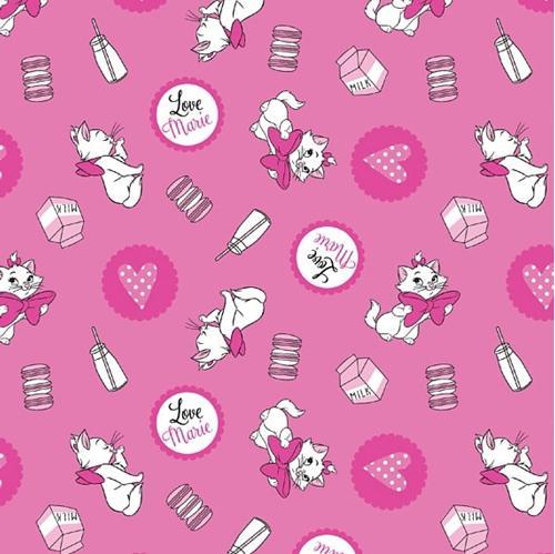 Disney Aristocats Marie Loves Milk Pink Cotton Fabric
