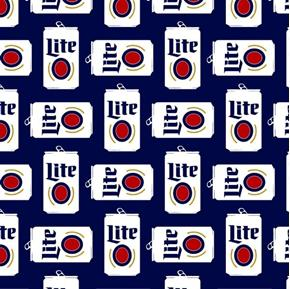 Picture of Miller Lite Can Grid Beer Cans Dark Blue Cotton Fabric