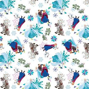 Disney Frozen Friends Tossed Sven Bulda Olaf White Cotton Fabric