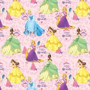 Disney Princess Listen to Your Heart Belle Tiana Pink Cotton Fabric