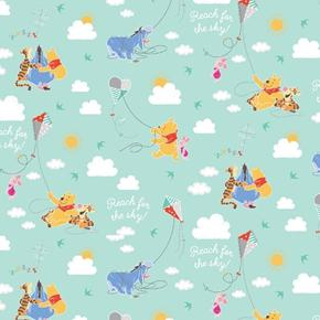 Picture of Disney Winnie The Pooh A Good Kite Flying Day Aqua Cotton Fabric
