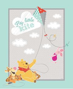 Picture of Disney Winnie The Pooh Fly Little Kite Large Cotton Fabric Panel