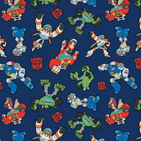 Transformers Attention Rescue Team Boulder Blades Chase Cotton Fabric