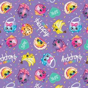 Shopkins Color Me Happy Characters and Sprinkles Purple Cotton Fabric